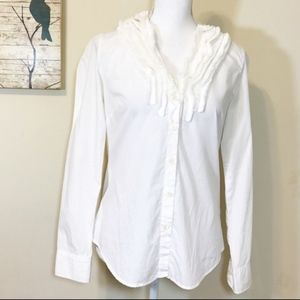 J. Crew White Ruffled Button Down Shirt
